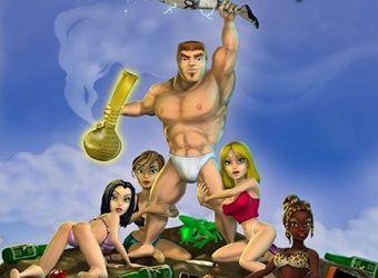 Jeu porno parodie avec l'action de lutte et le sexe de bande dessinée
