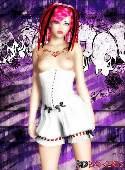 Jeune fille aux cheveux rose corset blanc